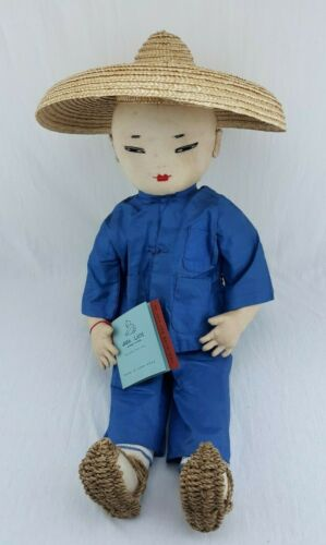 """Vintage ADA LUM 19"""" Farmer Doll w/Hat, Sandals, Socks and Tag, Made in Hong Kong"""