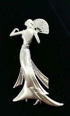 Roaring Twenties Costumes ((W) JJ Signed Roaring Twenties Deco Woman Lady Fan Dress Gold Tone Brooch)