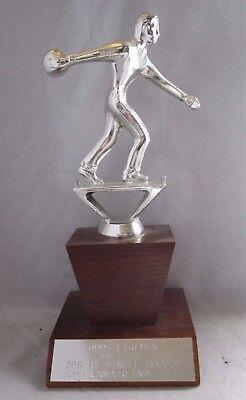 Men's Bowling Trophy 1972-73 Firemen's League 3rd Place Pro Bowl Rochester, Ny
