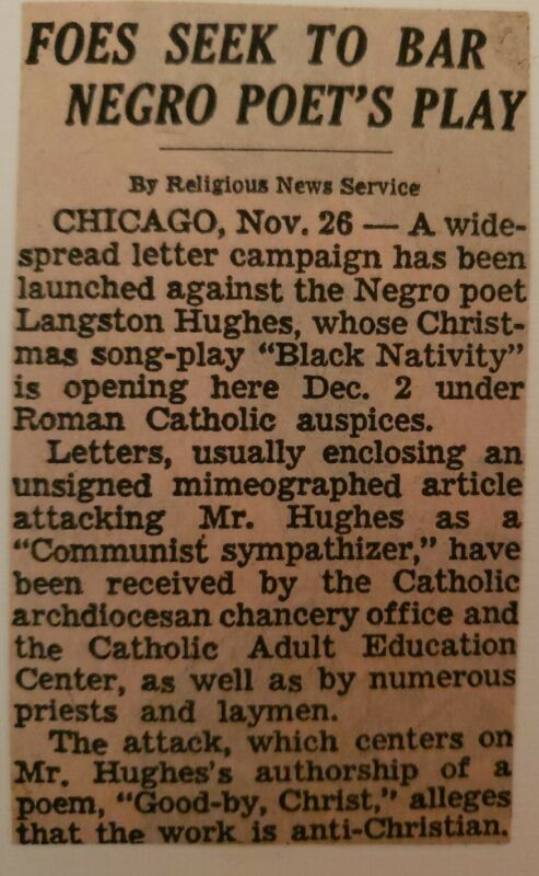 1963 LANGSTON HUGHES vintage clipping mounted on card w/envelope BLACK NATIVITY