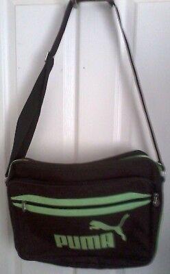 Puma Messenger Shoulder Bag, Brown & Lime Green Wi