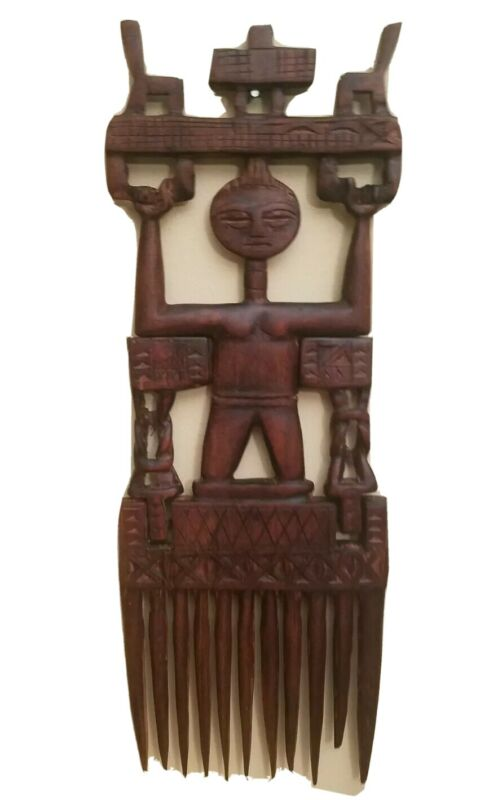Vintage Ashanti Hand-Carved African Prestige Wedding Comb Ghana