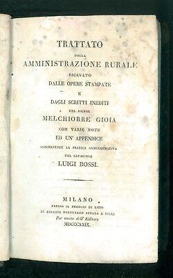 GIOIA MELCHIORRE TRATTATO DELLA AMMINISTRAZIONE RURALE STELLA 1829 AGRICOLTURA