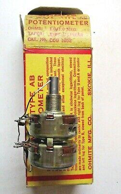 Ohmite Usa Dual Potentiometer Ccu 1052 Type Ab U Linear 1.01.0 Megohms Vintage