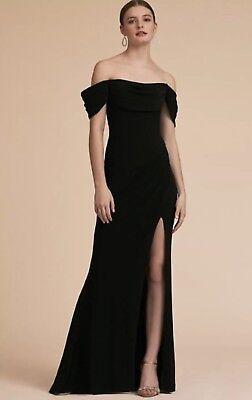 0370c9d5689 NWT  385 BHLDN Terani Couture Mareeka Gown Size 10 Black Off Shoulder Maxi  Dress