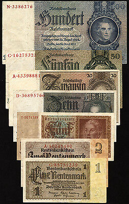Drittes Reich Banknotensatz 1933-45  Gebraucht (3) VF
