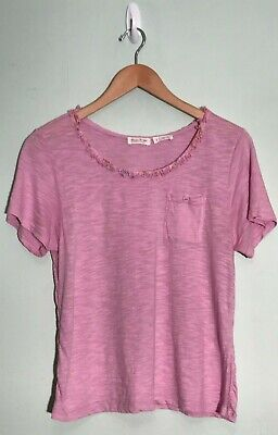 Meadow Rue by Anthropologie Beautiful Pink S/S w/ Ruffle Neckline T-Shirt Small