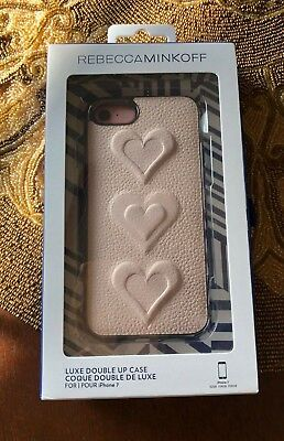 Rebecca Minkoff Pink Hearts Leather Luxe Double Up Cell Phone Case for iPhone 7