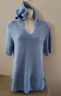 J. JILL S/S Light Blue Soft Knit Pullover Hoodie Top w/Kanga Pockets Sz Large for sale  Shipping to Canada