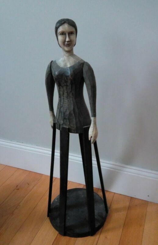 "Antique decorative Folk Art Santos Cage Doll. Painted wood. Beautiful 24"" tall."