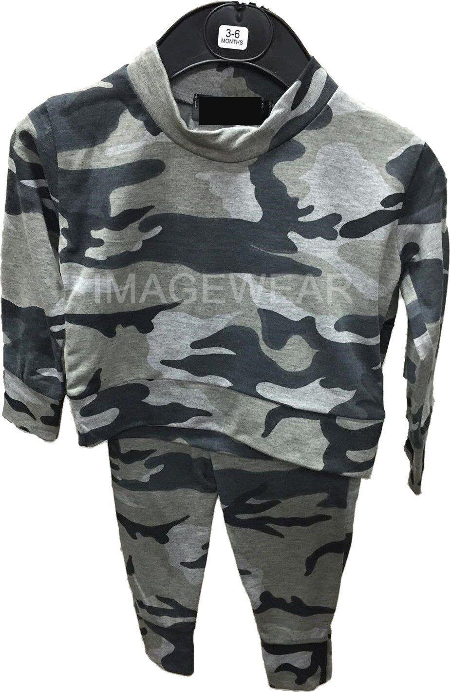 Girls//boys unisex Babies Camo Blue Tracksuit Kids Loungewear Suit 6mnths-13yrs