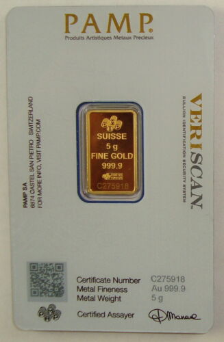 Pamp Suisse 5 Gram .9999 Fine Gold Fortuna Bullion Bar