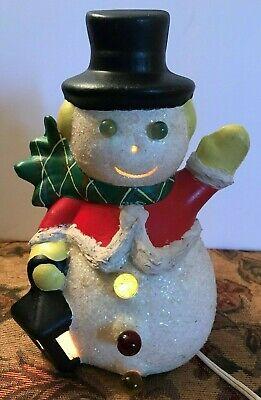 Vintage Ceramic Light Up Snowman Waving Holding Lantern