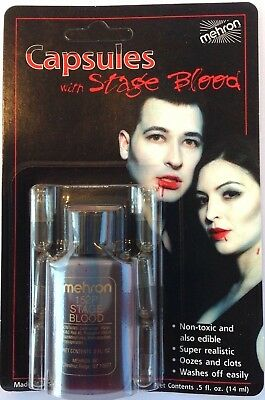 MEHRON FAKE RED STAGE BLOOD + 6 CAPSULES Makeup Halloween Vampire Bottle Dracula