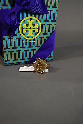 Tory Burch Cocktail Ring Walter 16K Gold Logo 5 Resin NWT