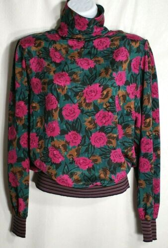 Vintage 80s Pink Green 10 Rose Floral Banded Button Back Puff Sleeve Blouse Top