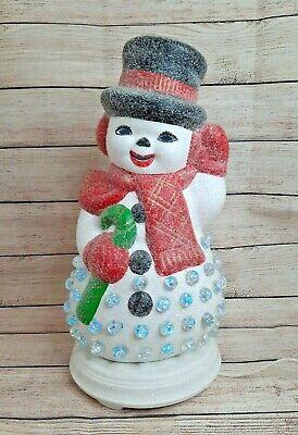 Vintage Christmas Sugared Ceramic Snowman w Base Lights Marbles Atlantic Mold