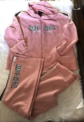 Harley Davidson Pink Hoodie Sweat Pants Set Large Tracksuit Jogging Pants