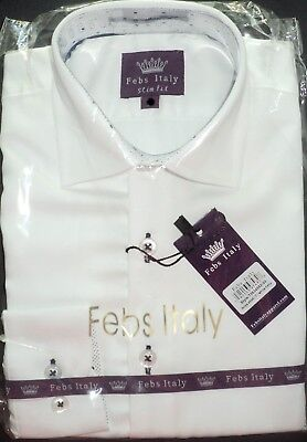 NEW~Boys Febs Italy Designer White LS Dress Shirt sz 4 Slim Fit  Black accent  - White Dress Shirt Boys