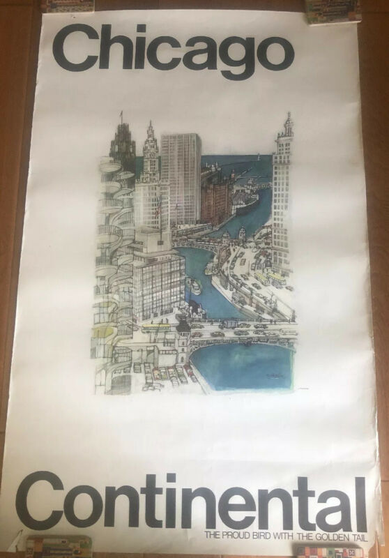 CONTINENTAL AIRLINES CHICAGO LOOP Travel Poster McMahon Foxing & Paper Loss