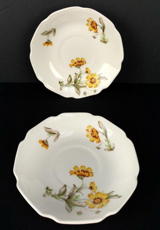 Vintage Yellow Daisy China Saucers Set of 2 USA