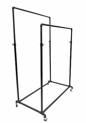 Black Double Rail Clothing Rack On Wheels W Casters - Adjustable Height Rack