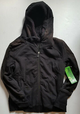 ALO black ORGANIC COTTON sherpa lined UBER COZY zip front HOODIE Jacket size L
