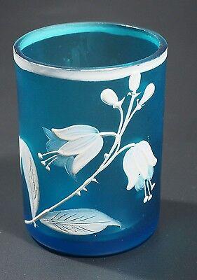 English - Satin Glass Tumbler - Blue with White Enameled Flowers