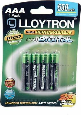 4 x Lloytron 550 mAh AAA Rechargeable Ni-MH Batteries Remote Toys Cordless Phone