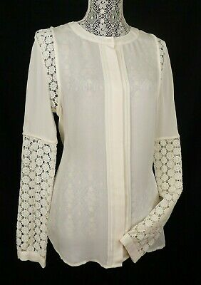NWT J. CREW Retail $138 SILK GEORGETTE LONG SLEEVE LACE BLOUSE IVORY Size - Silk Georgette Long Sleeve Blouse