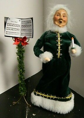 Vintage Byers Choice (1999) Woman in Green Dress with Candle & Music Stand V.G. ()