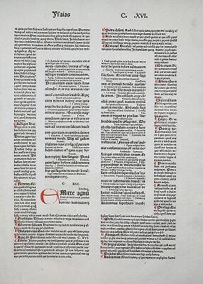 BIBLIA LATINA BIBEL BLATT KOBERGER RUSCH LOMBARDEN INITIALEN PROPHET JESAJA 1481