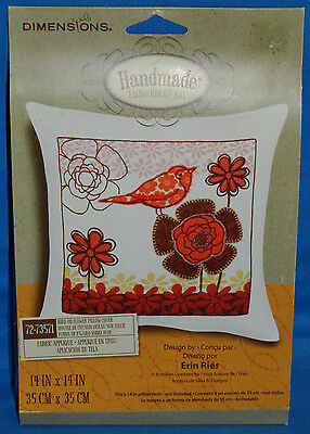 New Dimensions Red Bird On Flower Pillow Cover Embroidery Kit Fabric Applique