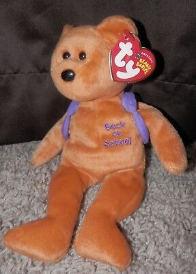 Ty Beanie Babies Books The Back To School Bear Purple Back Pack Plush  8 1 2