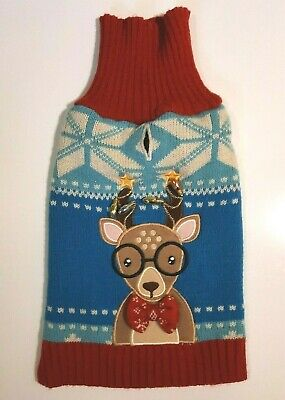 Ugly Dog Christmas Sweater With Reindeer & Light Bulbs, Red & Blue, Small Dog