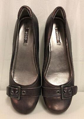 ECCO Women's Metallic Pink/Purple Leather Buckle Flats Shoes Size 40 US 9.5