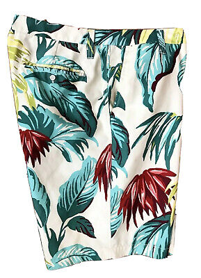 NAUTICA Tropical Hawaiian Floral Swim Trunks Un-Lined Board Shorts  ~ Men's 36