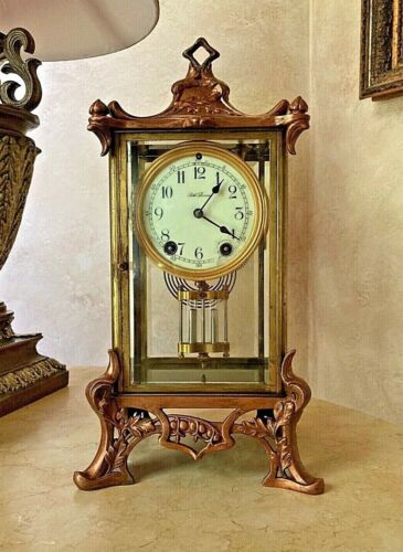 ANTIQUE - SETH THOMAS CRYSTAL MANTEL CLOCK EMPIRE#15 CATHEDRAL CHIME c1909