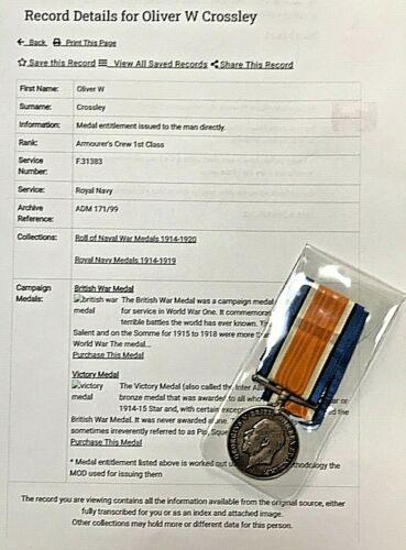 BRITISH ARMED FORCES WWI MEDAL - ARMOURER 1st CLASS OLIVER CROSSLEY - R.N.A.S.