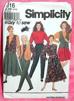 Uncut Simplicity Misses 12-18 Easy Pleated Skirt Pants Top & Vest Pattern 8016