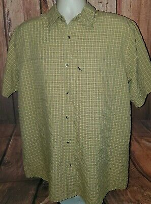 THE NORTH FACE Men's Large Button Front Plaid Shirt Short Sleeves Casual Outdoor