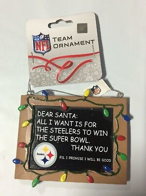 Pittsburgh Steelers Christmas Tree Ornament Chalkboard All I want is a - Steelers Ornaments