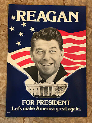 """Ronald Reagan For President Poster Let's Make America Great Again 15"""" x 21"""""""