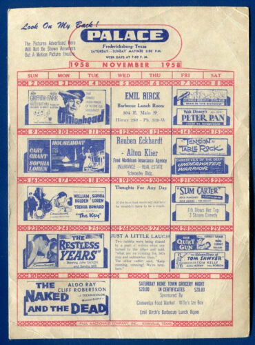 Fredericksburg, Texas Movie Flyer 87 Drive-in Palace Theater November 1958