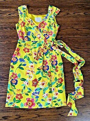 KATE SPADE Yellow Silk Floral Wrap Dress size 2