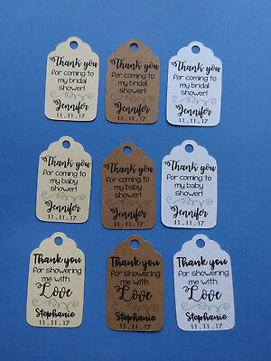 20 personalized Bridal or Baby Shower favor tags. Thank you for coming. w/ name.