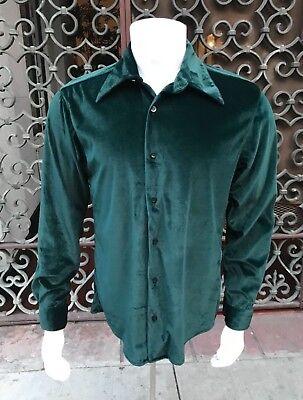 Mens Dk Green - Men's Dk.Green Velvet Look Long Sleeve Button Down Shirt