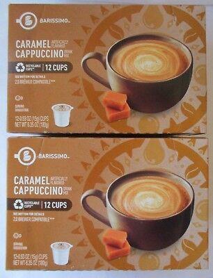 2 - BARISSIMO CARAMEL CAPPUCCINO FLAVORED COFFEE 12 PODS K-CUPS BOX