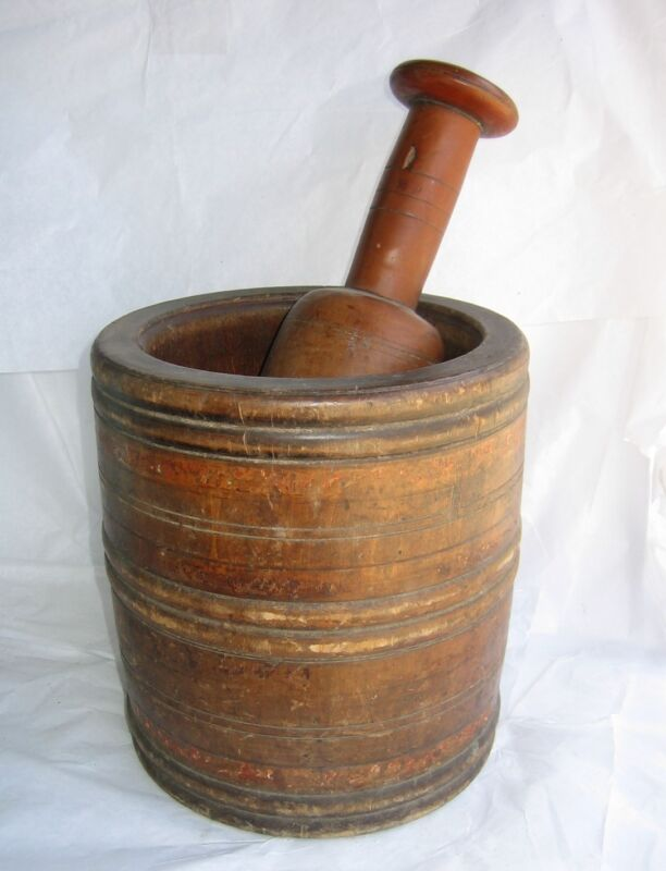 Primitive Large Wood Mortar & Pestle Apothecary Rx Pharmacy Drugstore