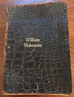 THE COMPLETE WORKS OF WILLIAM SHAKESPEARE LEATHER COVERS POETRY Antique